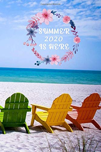 Summer 2020 is here: Summer write journal for kids with chair in front of sea, for summer 2020, sea coloring notbook, beach notbook for girls, perfect size 6x9 inch, matte cover