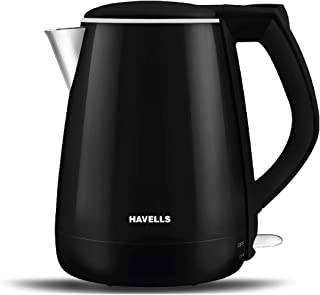 Havells Aqua Plus 1.2 litre Double Wall Kettle / 304 Stainless Steel Inner Body / Cool touch outer body / Wider mouth/ 2 Y...