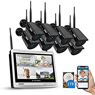 "All-in-1 Wireless Security Camera System with 12"" Monitor, TMEZON HD1080P 8Channel WiFi Wireless CCTV Security IP Camera N..."
