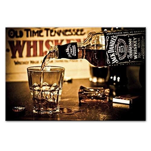 nr Whiskey Drinks Muurposters en prints Moderne afbeeldingen op canvas schilderijen afdrukken op canvas bar decoratieve afbeeldingen -60x90cmx1 frameloos