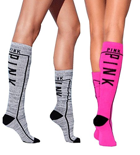 Victoria's Secret PINK! Knee High Sock 2 Pairs Pink/Gray