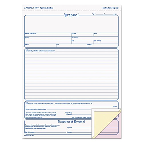 Adams Business Forms NC3819 Contractor Proposal Form, 3-Part Carbonless, 8 1/2 x 11, 50 Forms by Adams Business Forms