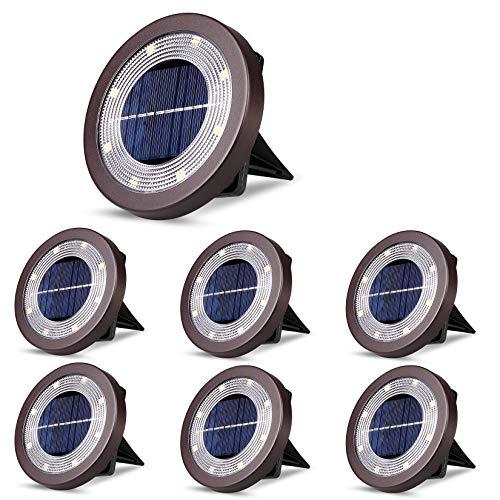ソーラーグラウンドライト ソーラーライト 防犯ライト 屋外 埋め込み式 暖色系 電球色 ガーデニング ip65防水 ステンレス鋼+プラスチック素材 ガーデン、庭、芝生、公園、玄関先、歩道に適う アウトドア用ライト 6個セット