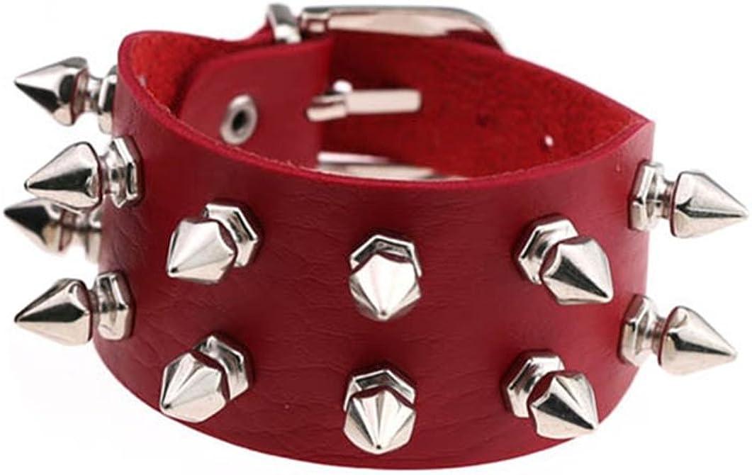 Tanyoyo Unisex Spike Studded Rock Punk Biker Wide Strap Leather Bracelet Gothic Rivet Buckle Wristband