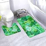 LEPO'S Welcome To The Jungle Palm - Juego de 2 alfombras de baño con forma de U para el baño y alfombrilla antideslizante para suelos
