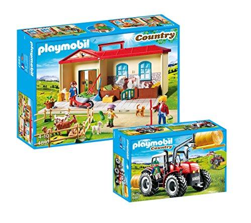 PLAYMOBIL® Country Set: 4897 Mitnehm-Bauernhof + 6867 Riesentraktor mit Spezialwerkzeugen