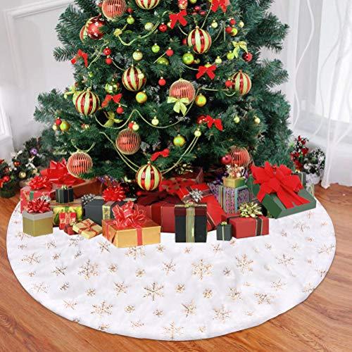 Funkprofi Weihnachtsbaum Rock Plüsch, Weihnachten Baumrock weiß Weihnachtsbaum Schürzemit golden Schneeflocken für Christmas