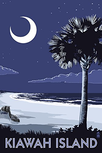 Kiawah Island, South Carolina - Palmetto Moon (12x18 Art Print, Wall Decor Travel Poster)