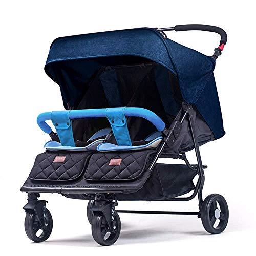 Sale!! TZZ Double Stroller with 2 Seating Capacity 5 Point Harness for Newborn and Toddlers (Color :...