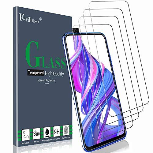 Vidrio templado Ferilinso para Huawei P Smart Z / Huawei Y9 Primer vidrio templado 2019, [Paquete de 4] Protección de película protectora Pantalla de protector de pantalla de vidrio templado con garantía