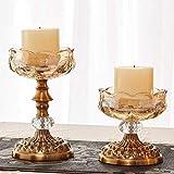 ZQJSC Candlestick Holders Tenedor de Vidrio de Estilo Europeo Decoración para el hogar Candlestick Candelabra Titular de la Vela Piezas centrales Candelabro (Color : Gold, Size : Small and Large)