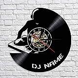 LIMN Reloj de Pared de Vinilo Retro DJ Personalizado Nombre Personalizado Disco de Vinilo Reloj de...