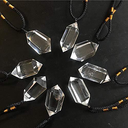 ZHIBO Blanco Natural de Cristal Doble Colgante Colgante Collar Original de Piedra Seis prismático