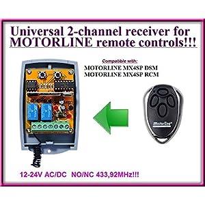 Receptor-compatible-con-Motorline-Receptor-universal-de-2-canales-para-mandos-a-distancia-Motorline-MX4SP-DSM-Motorline-MX4SP-RCM-12-24-V-CACC-NONC-43392-Mhz-rodillo-cdigo-fijo
