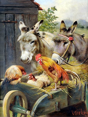 Rooster and Chickens and Donkeys by Herbert William Weekes Accent Tile Mural Kitchen Bathroom Wall Backsplash Behind Stove Range Sink Splashback One Tile 6'x8' Ceramic, Glossy
