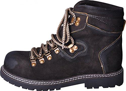 Almwerk Herren Trachten Bergschuh Wanderschuh verschiedene Farben, Schuhgröße:EU 42 - US 9 - Fußlänge 26.7 cm;Farbe:Schwarz
