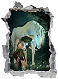 Einhorn Elfe Zauberwald Wandtattoo Wandsticker Wandaufkleber E0119 Größe 46 cm x 62 cm