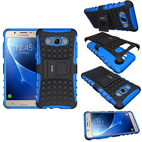 FETRIM Coque Samsung Galaxy J5, Coque Galaxy J5 2016 Armure Support TPU Silicone + Plastique Protection Étui,Anti Chocs Bumper Hybride Protection Housse Cover pour Samsung Galaxy J5 2016 - Bleu