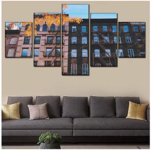 XXSCZ 5 Canvas Schilderijen 5 Panel Retro Bouwen Raam Trappen Poster Canvas Gedrukt Schilderij Muur Art Home Decoratieve Een Set Framework Unieke Beeld 30x40 30x60 30x80cm Met Frame