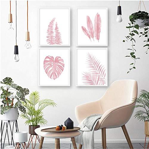 Roze Bladeren Varen Plant Aquarel Illustratie Noordse Poster Prints Banaan Botanische Muur Kunst Canvas Schilderij Foto Home Decor 30x40cmx4 ongekaderde