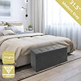 Seville Classics 31.5' Foldable Tufted Storage Bench Footrest Toy Chest Coffee...