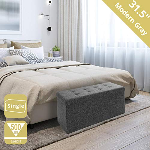 Seville Classics 31.5' Foldable Tufted Storage Bench Footrest Toy Chest Coffee Table Trunk Ottoman, Single, Charcoal Gray