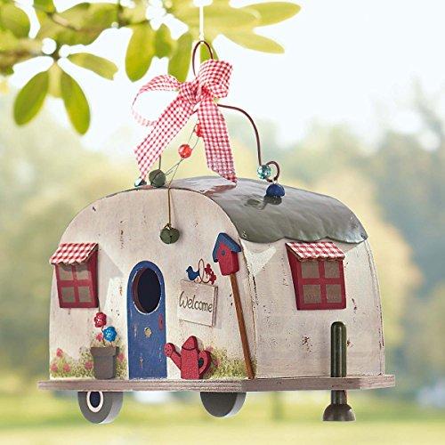Vogelhaus Wohnwagen Camper zum Hängen Holz Blechdach - 4