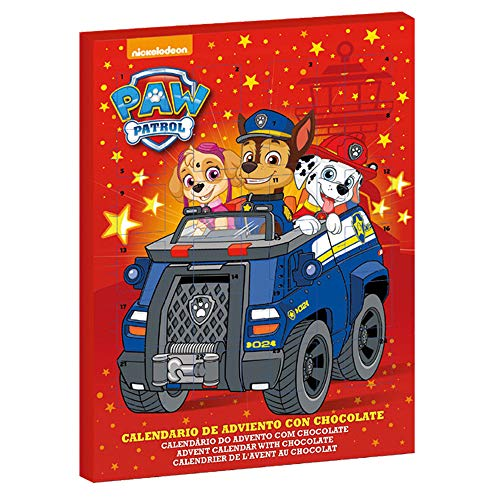 Dekora- Paw Patrol Calendario de Adviento para Niños de Chocolate de la Patrulla Canina, Color rojo (225053)