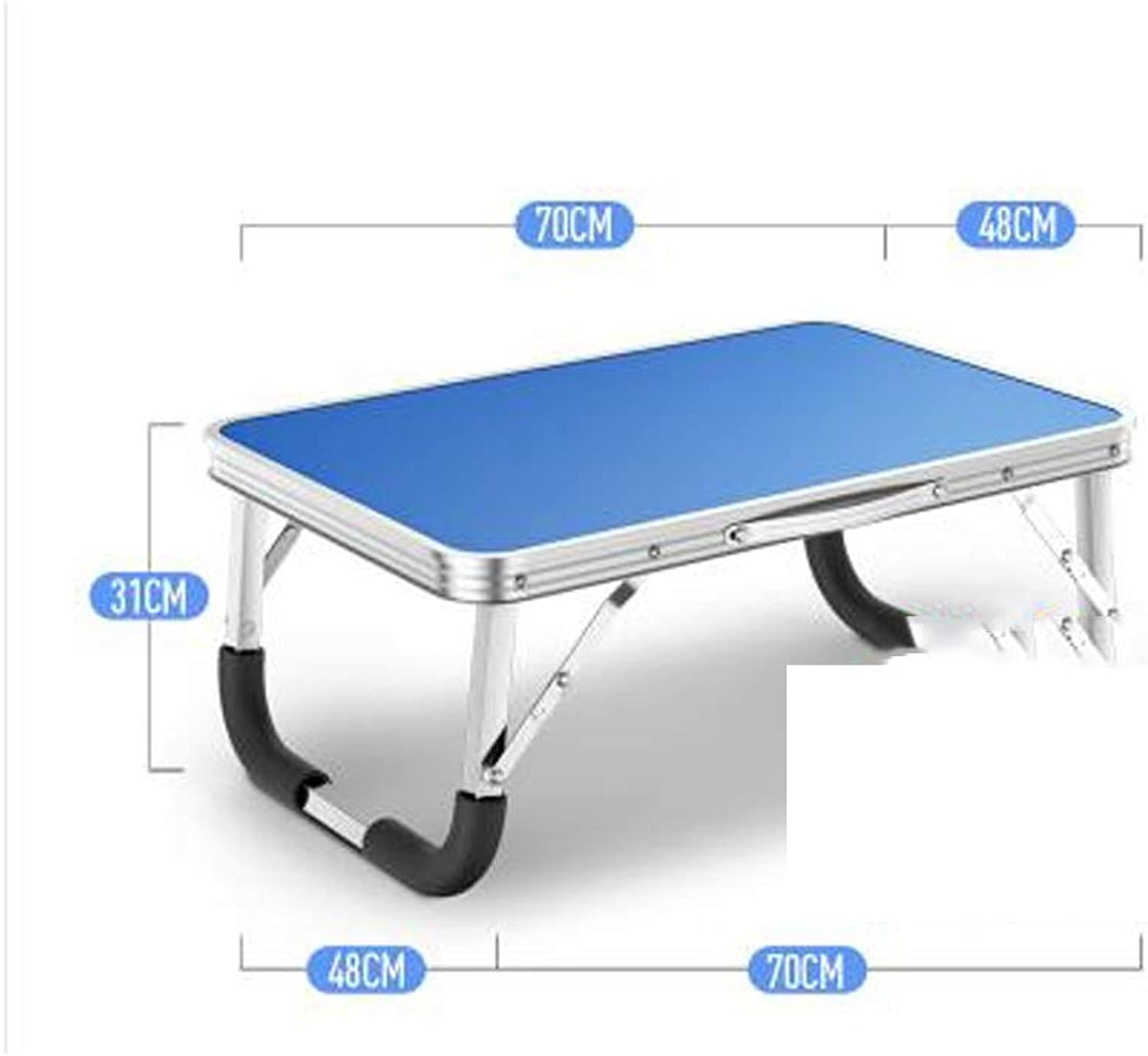 LPKH Folding Table Bed Laptop Table College Student Dining Table Dormitory Desk Bedroom Learning Small Table (color   bluee)
