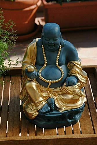 Deko Shop Cologne Buddha Figur lachender Dicker Happy Buddha XL Blau Türkis Gold Glück Feng Shui