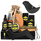 Kit de Soins Barbe Homme 9Pcs ATMOKO, Kit Soin Barbe, shampoing barbe,Huile à barbe...