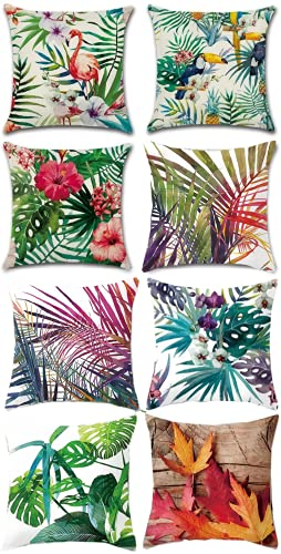 Gspirit 4 Pack Tropical Flamenco Flor Hojas Algodón Lino Throw Pillow Case Decorativo Funda e Almohada 45x45cm