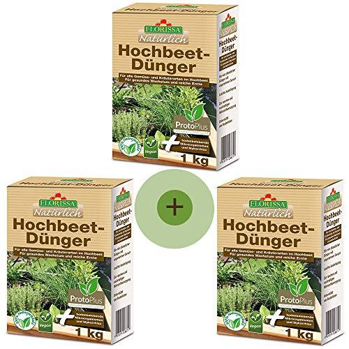 Florissa Natürlich Hochbeet Set: 3X Bio Hochbeetdünger (jeweils 1kg) + 1x Hochbeet-Infobroschüre