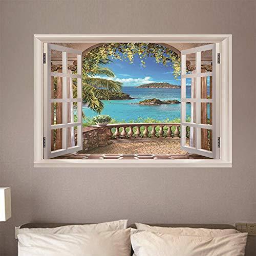 Fensterblick Leinwand - Kunstdruck Modern Wandbilder - Wanddekoration Design Wand Bild - Fenster - Insellandschaft,140x100cm