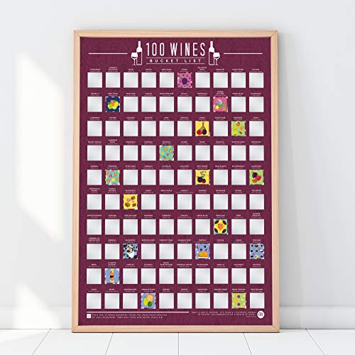 Gift Republic 100 Wines Scratch Off Poster