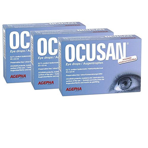 OCUSAN by AGEPHA Eye Drops SDU (Single dose Units) for Dry Eyes Suitable for use with All Contact Lenses | Preservative Free | hyaluronic Acid lubricating Artificial tears (Pack of 3-60 Dose)