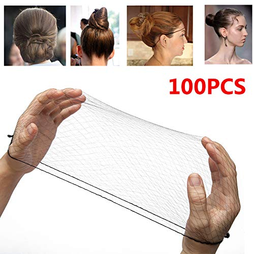 100PCS 18' Nylon Hair Net Hair Nets Hairnets Elastic Edge - Stretch To Fit Lightweight and Latex Free One Size Fits All(18 inch,Black)