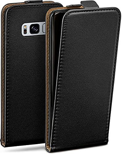 moex Flip Hülle für Samsung Galaxy S8 - Hülle klappbar, 360 Grad Klapphülle aus Vegan Leder, Handytasche mit vertikaler Klappe, magnetisch - Schwarz