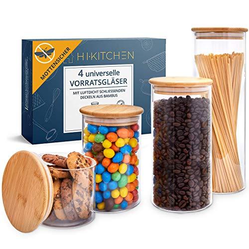 HIKITCHEN® Vorratsgläser aus 3mm dickem Borosilikatglas - Vorratsdosen Glas mit Bambusdeckel, Glasbehälter mit Deckel zur Aufbewahrung in der Küche von Mehl, Müsli Pasta, Spaghetti [4er Set]