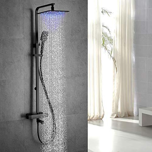 Columna de ducha ESIP, sistema de ducha termostático LED multifuncional, juego de ducha de 25x25 mm, con modo lluvia, modo cascada, teleducha, grifo de ducha, juego de ducha negro