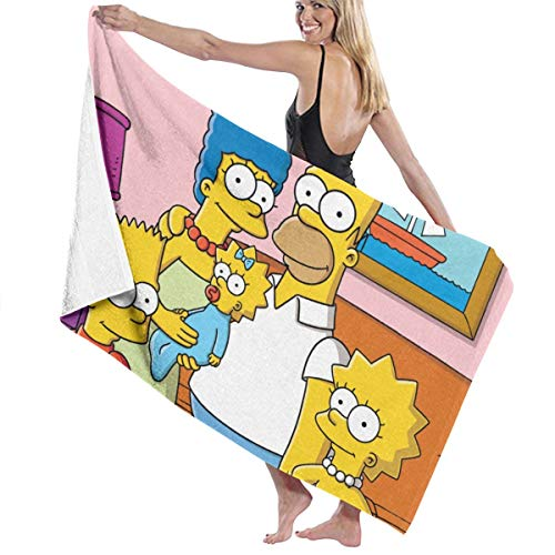 SJPillowcover Toalla de baño de The Simpsons, súper suave, absorbente, para playa, piscina, camping, deportes, etc. Talla única
