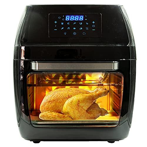 Friggitrice ad aria calda senza olio ECOFRY 2 lt 1000W 12 lt 1700W 10 in 1 Griglia 6 accessori e ricettario Acciaio Inox (12LT)