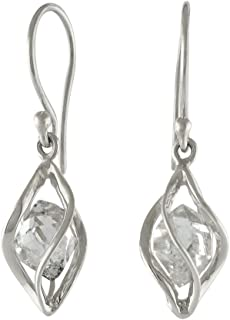 Sterling Silver cage set natural Herkimer Diamond Quartz Earrings