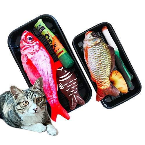Yummy restore Catnip Toys – Flopping Interactive Fish Cat Toys for Kitten Kitty Chew Kick Bite Exercise(3 pcs – 2 Types…