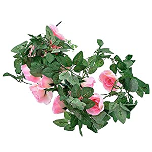 Godagoda Artificial Rose Flower Hanging Ranttan Cane Best for Wedding Party Decoration