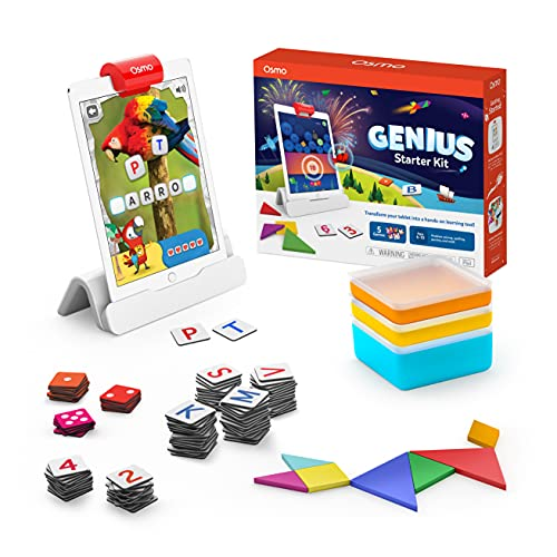 Osmo - Genius Starter Kit for iPad - 5 Educational Learning Games - Ages 6-10 - Math, Spelling, Creativity & More - STEM Toy (Osmo iPad Base Included)