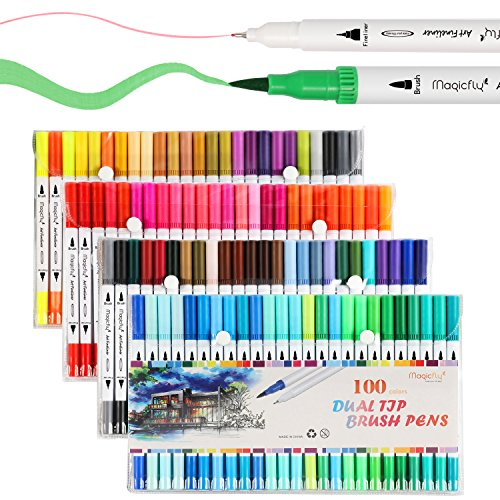 100 Dual Tip Brush Pens, Magicfly Water Coloring Markers with Fineliner Tip 0.4 and Highlighters Brush Tip Markers(1mm-2mm), Dual Brush Pens for Adult Coloring Book, Calligraphy, Manga, Bullet Journal