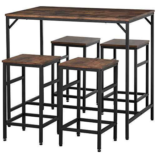 homcom Set Tavolo Alto con 4 Sgabelli Stile Industriale in Metallo e Legno, Arredamento Moderno Soggiorno e Cucina, Marrone Rustico