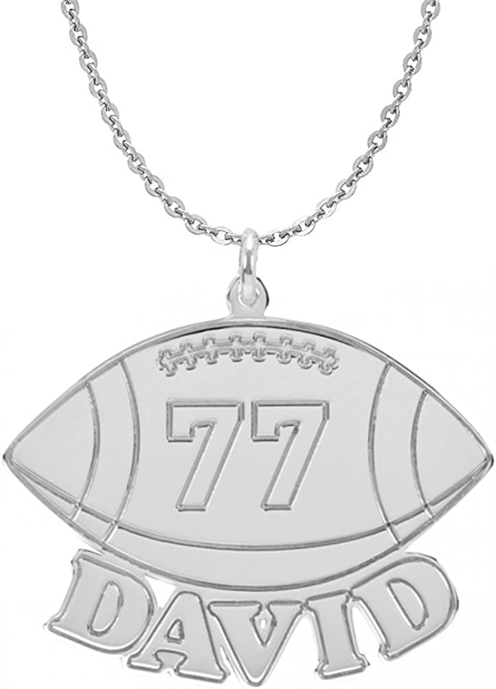 HACOOL 超激安特価 Personalized 国内正規総代理店アイテム 925 Sterling Silver Football Men Unisex Name