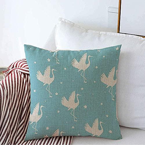 Farmhouse Funda de Almohada Decorativa Funda de Almohada Cuadrada Asia Oriental Asiático Awaresome Textura Grúa ala Patrón de Garza Elegante Floral Flying Bird Funda de cojín Vintage para so